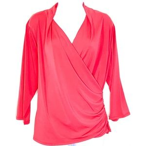 NEW Allison Taylor Coral Faux Wrap 3/4 Sleeves Top
